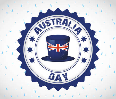 australia day celebration with seal and hat vector illustration design