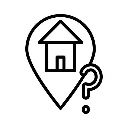 home location with interrogation singn line style icon vector illustration design