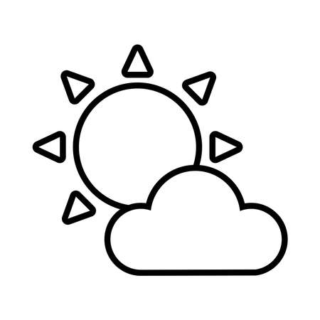 cloud and sun line style icon vector illustration design