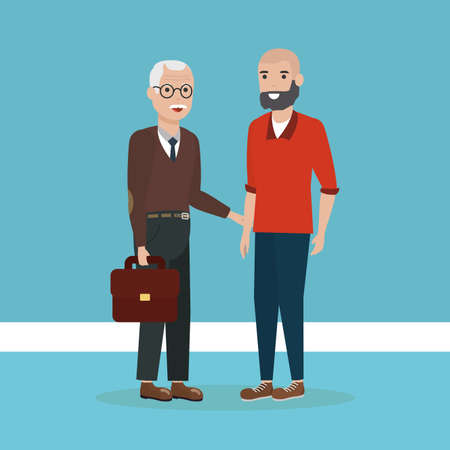 family grandchild with grandfather together vector illustration