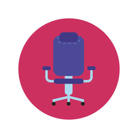 office chair block and flat style icon vector illustration design