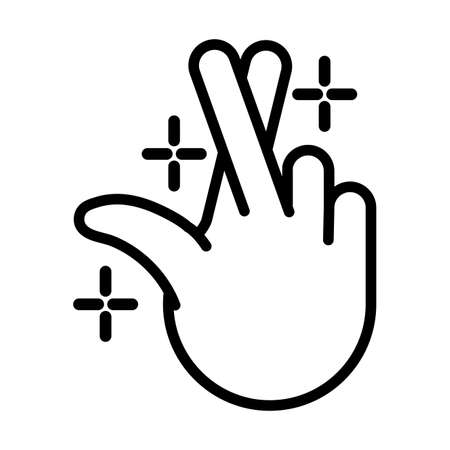 hand crossing fingers signal line style vector illustration design