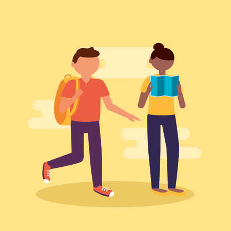 couple with suitcases vacations travel - people and travel vector illustration Ilustração
