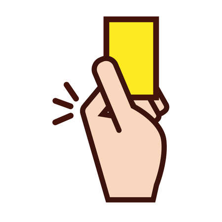 soccer sport referee hand with yellow card line and fill icon vector illustration design