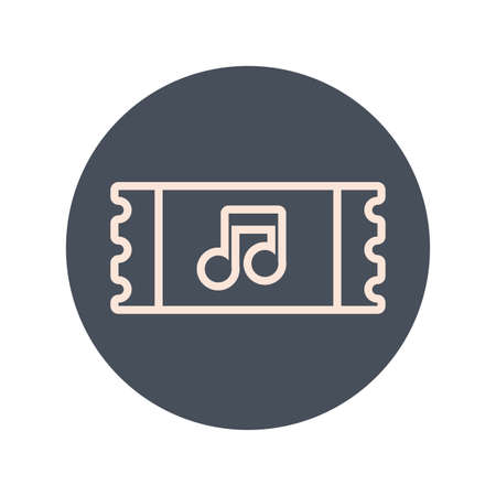 ticket with music note block and line icon vector illustration design