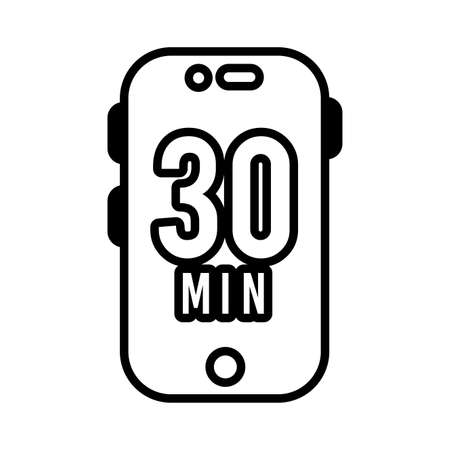 smartphone with 30 minuts line style icon vector illustration design