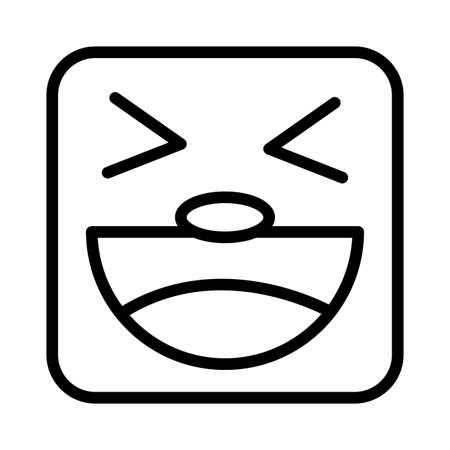 square emoji crazy face line style icon vector illustration design