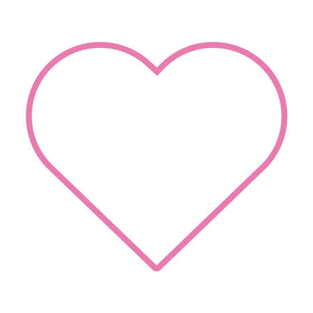 pink heart line style icon vector illustration design