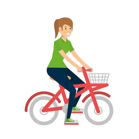 Woman riding bike design, Vehicle bicycle cycle lifestyle sport and transportation theme Vector illustration