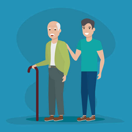 family grandfather and grandchild walking vector illustration