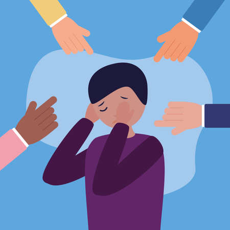 sad boy mental disorder psychological depressed vector illustration