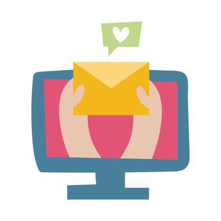 desktop with love email flat style icon vector illustration design 向量圖像