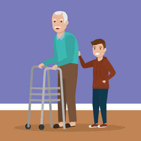 grandchild with grandafther love together walking vector illustration