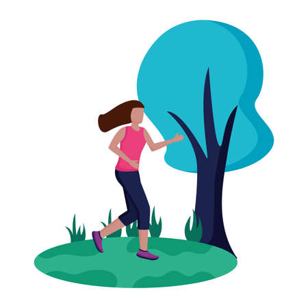 woman practicing running activity in the park vector illustration Zdjęcie Seryjne - 155345126