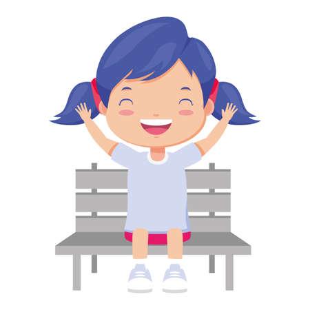 girl sitting on bench white background vector illustration
