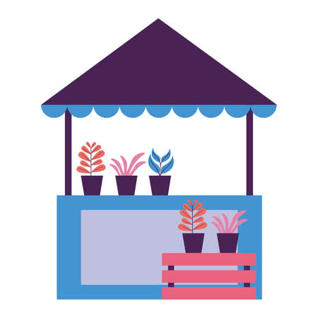 street commerce booth plants nature vector illustration