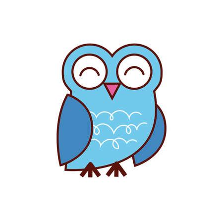 cute owl animal comic character vector illustration design