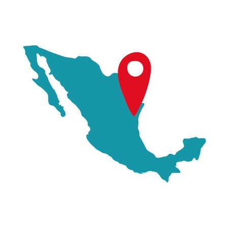 mexican map with pin location fill style icon vector illustration design Illusztráció