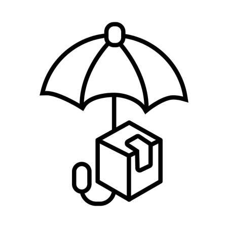 umbrella protection line style vector illustration design