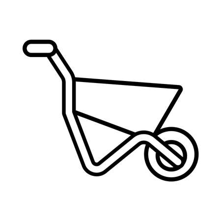 wheelbarrow gardening tool line style vector illustration design Illusztráció