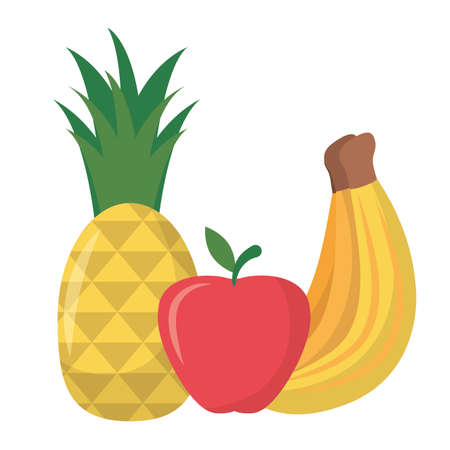 Banana pineapple and apple design, Fruit healthy organic food sweet and nature theme Vector illustration