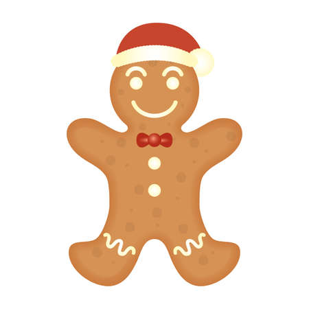 merry christmas sweet ginger cookie with santa hat vector illustration design