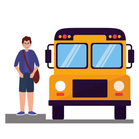 boy student and bus back to school vector illustration Иллюстрация