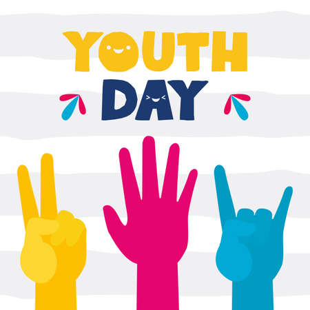 raised hands peace and love rock and roll happy youth day flat design vector illustration