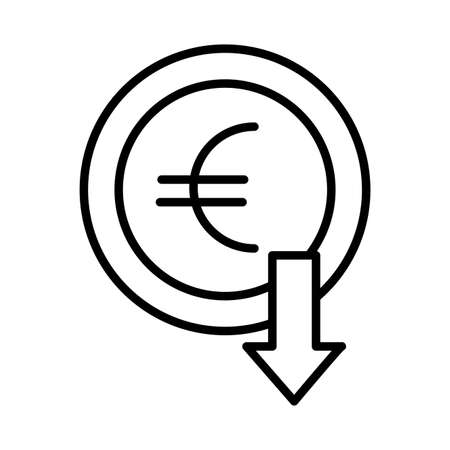 euro coin with arrow down line style vector illustration design