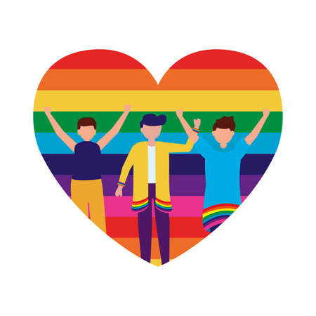 Men cartoon design, Lgtbiq march pride equality freedom love and community theme Vector illustration