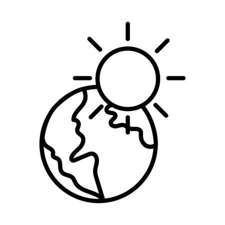 world planet earth with sun line style vector illustration design Иллюстрация