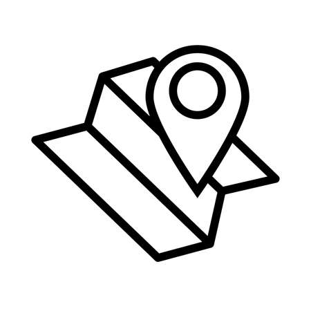 paper map guide with pin location line style icon vector illustration design Иллюстрация