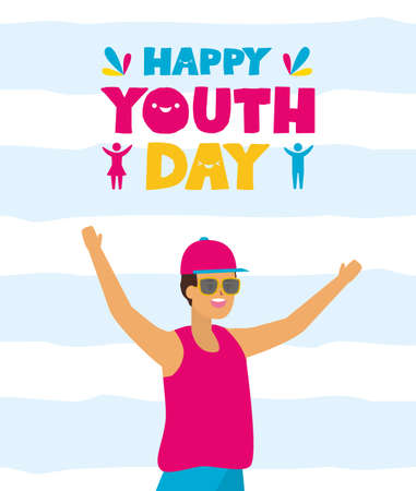 smiling man happy youth day flat design vector illustration Иллюстрация