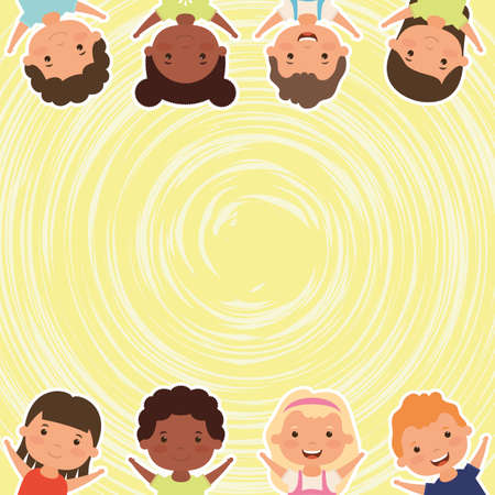group of little interracial kids characters vector illustration design