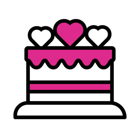 happy valentines day sweet cake with heart line style vector illustration design