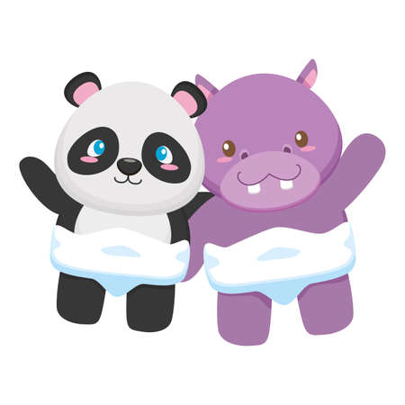 cute little panda and hippo characters vector illustration design Иллюстрация
