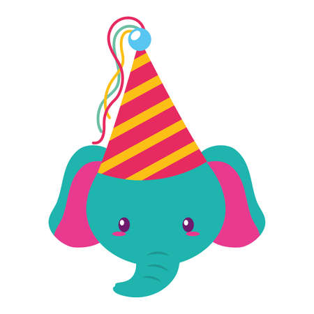 birthday celebration cute elephant party hat vector illustration