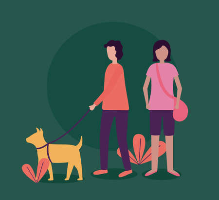 man with dog and woman activities outdoors vector illustration Иллюстрация