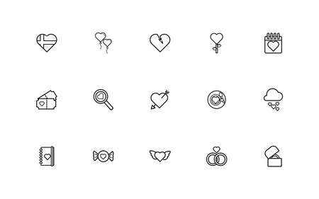 bundle of valentines day line style set icons vector illustration design