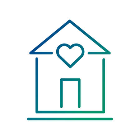 house with heart line style icon vector illustration design Иллюстрация