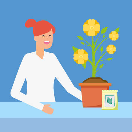 woman with fertilizer and flower in pot gardening vector illustration