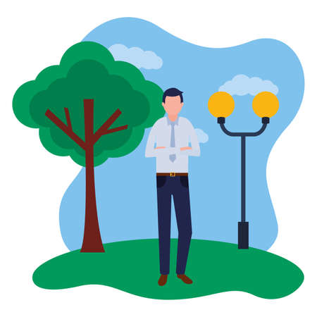 business man standing in the park vector illustration