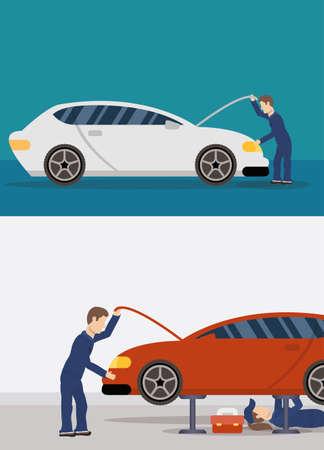 team of mechanics working characters vector illustration design
