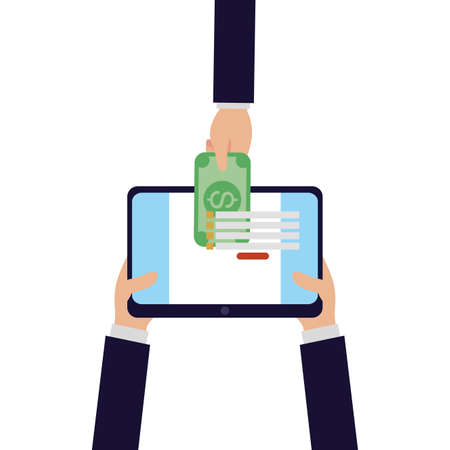 Hands holding tablet with bill of money financial banking commerce and market theme Vector illustration