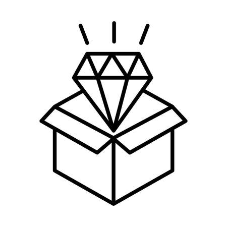 donation urn with diamond solidarity line style vector illustration design Иллюстрация