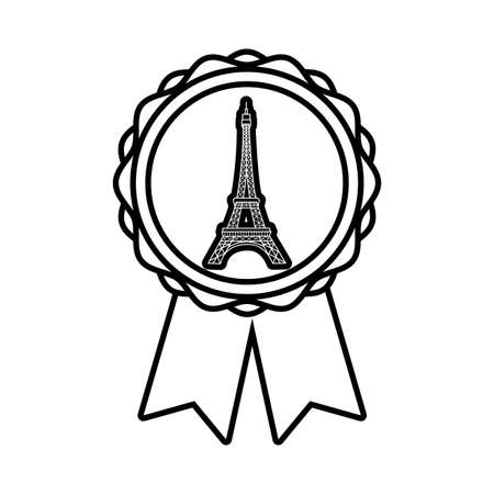 medal with tower eiffel france line style vector illustration 向量圖像