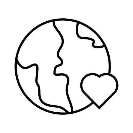 earth planet with heart solidarity line style vector illustration design