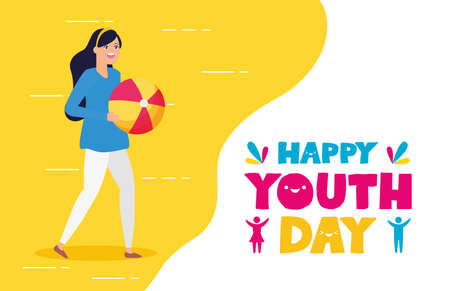 woman celebration greeting card happy youth day flat design vector illustration