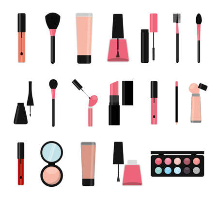 Make up icon set design, beauty cosmetic fashion style glamour skin and facial care theme Vector illustration Vektoros illusztráció