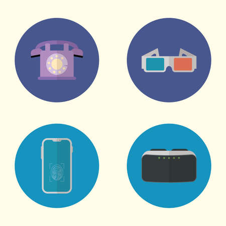 collection of evolution devices and gadgets technology vector illustration Vector Illustration